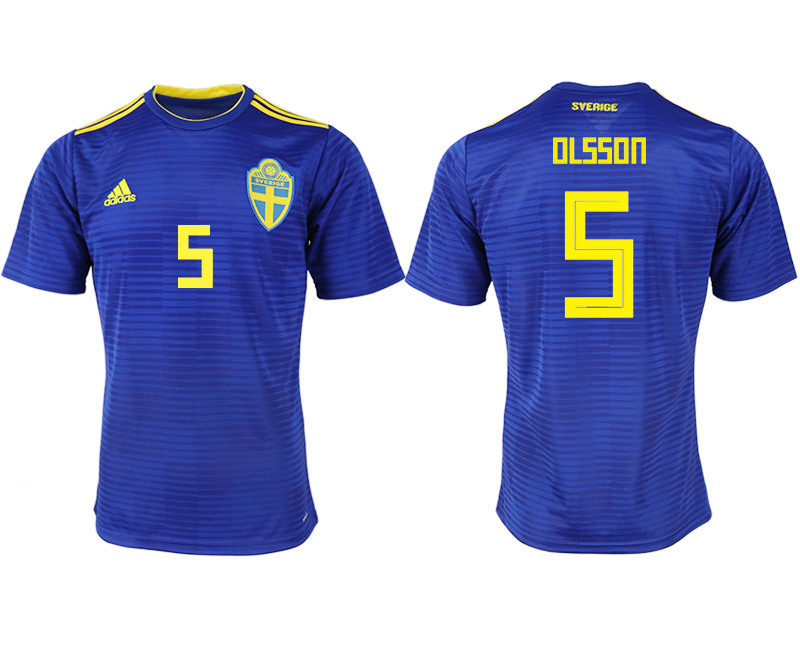 Men 2018 World Cup Sweden away aaa version 5 blue soccer jerseys