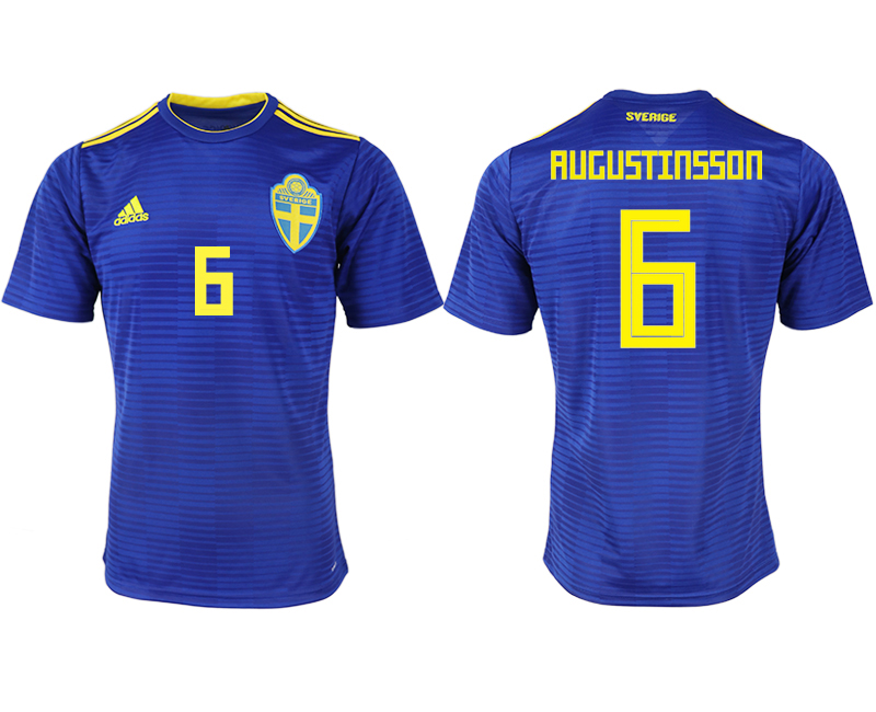 Men 2018 World Cup Sweden away aaa version 6 blue soccer jerseys