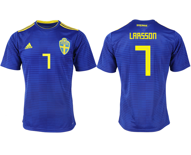 Men 2018 World Cup Sweden away aaa version 7 blue soccer jerseys