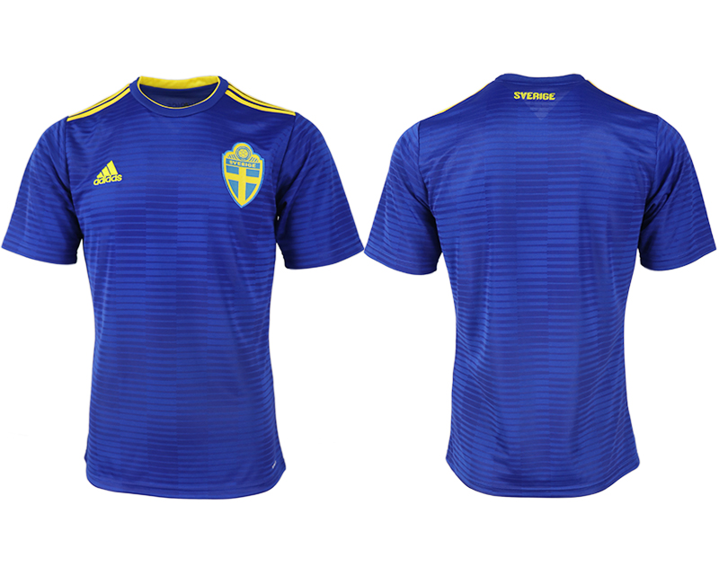 Men 2018 World Cup Sweden away aaa version blank blue soccer jerseys