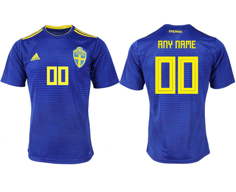 Men 2018 World Cup Sweden away aaa version customized blue soccer jerseys