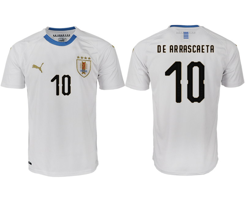 Men 2018 World Cup Uruguay home aaa version 10 white soccer jerseys1