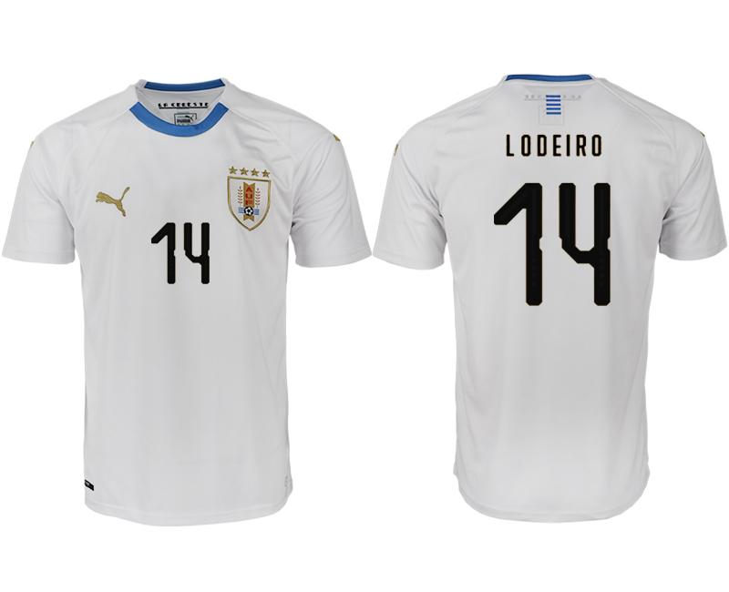 Men 2018 World Cup Uruguay home aaa version 14 white soccer jerseys