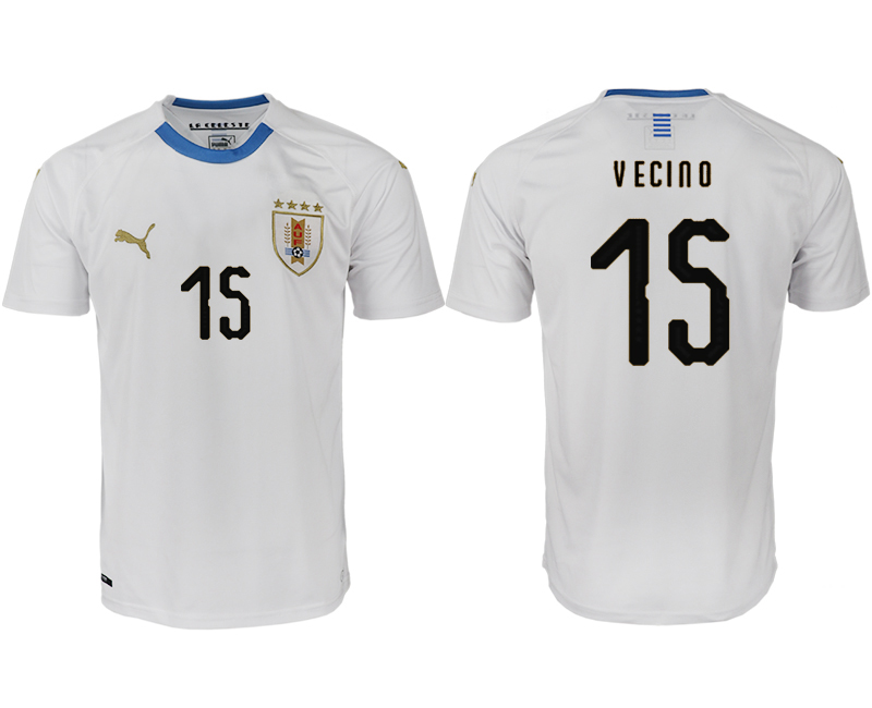 Men 2018 World Cup Uruguay home aaa version 15 white soccer jerseys