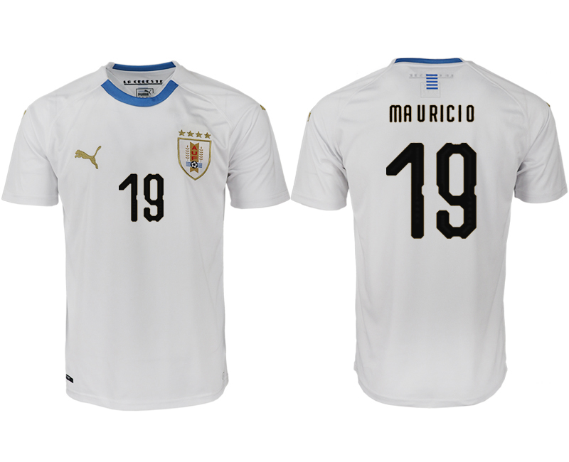 Men 2018 World Cup Uruguay home aaa version 19 white soccer jerseys