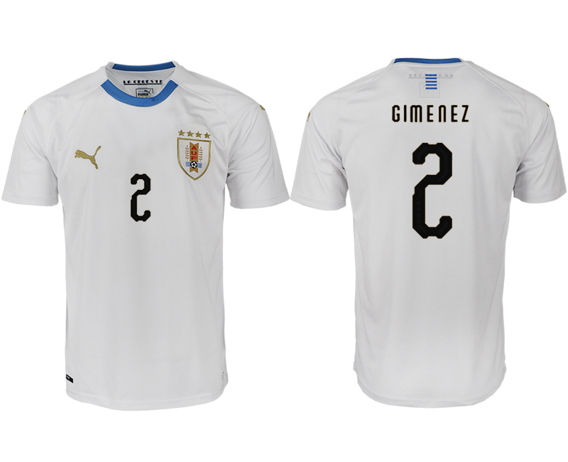 Men 2018 World Cup Uruguay home aaa version 2 white soccer jerseys