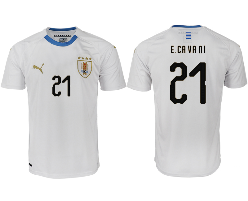 Men 2018 World Cup Uruguay home aaa version 21 white soccer jerseys