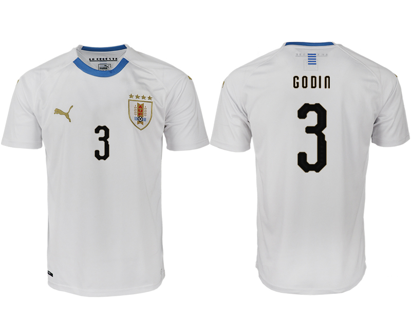 Men 2018 World Cup Uruguay home aaa version 3 white soccer jerseys