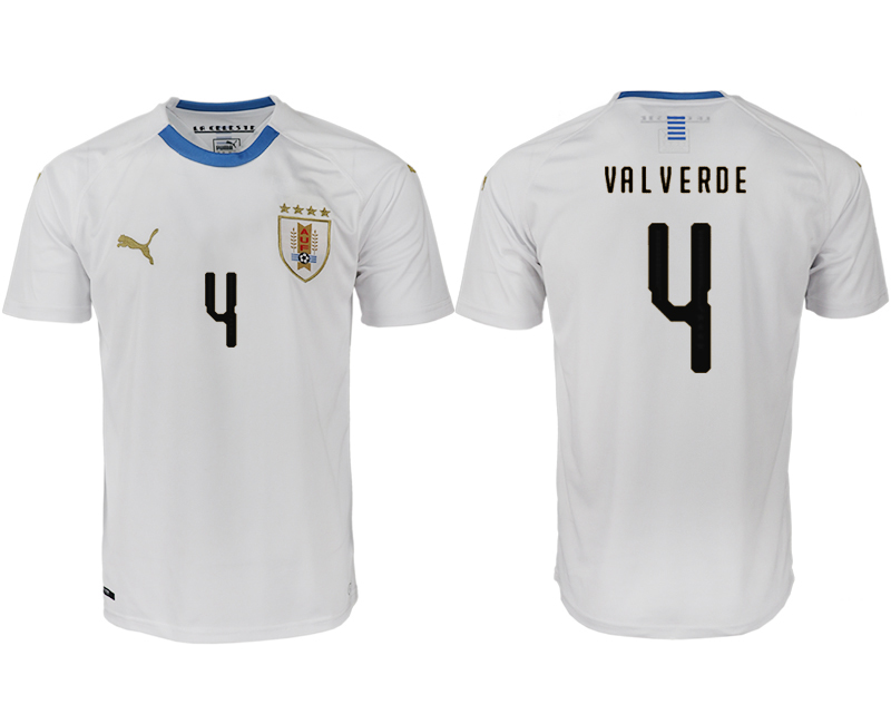 Men 2018 World Cup Uruguay home aaa version 4 white soccer jerseys