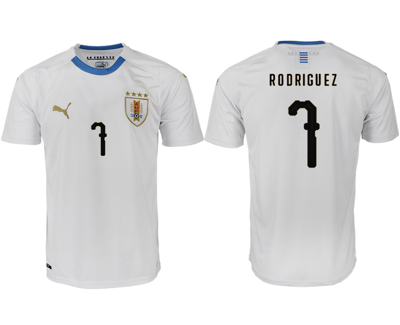 Men 2018 World Cup Uruguay home aaa version 7 white soccer jerseys