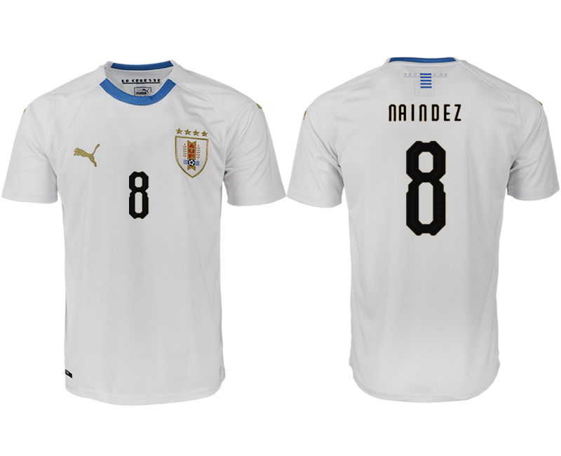 Men 2018 World Cup Uruguay home aaa version 8 white soccer jerseys
