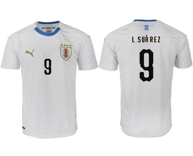 Men 2018 World Cup Uruguay home aaa version 9 white soccer jerseys1