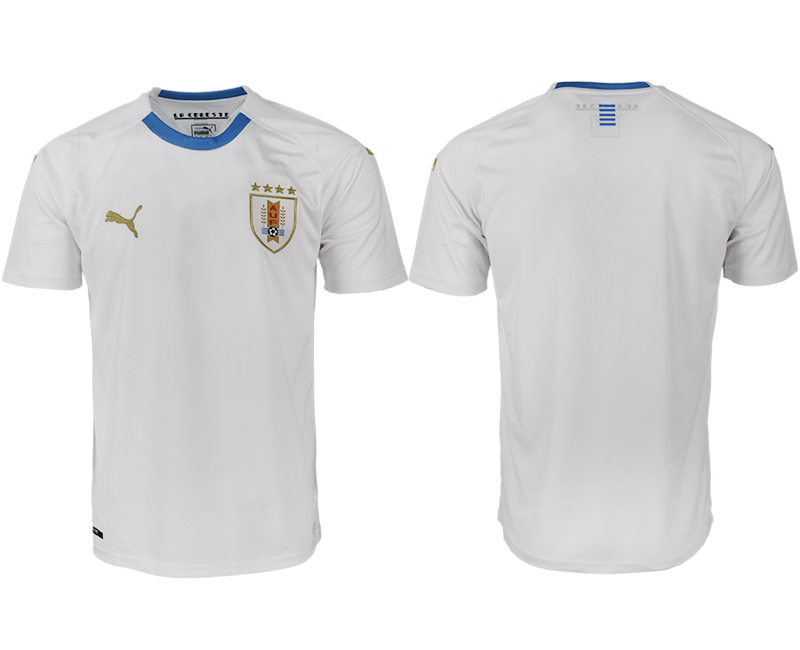 Men 2018 World Cup Uruguay home aaa version blank white soccer jerseys