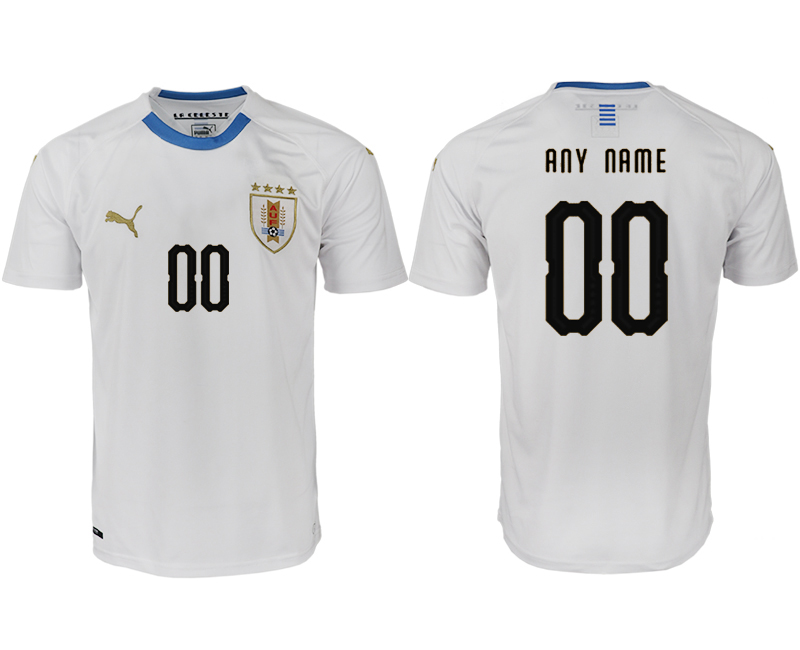 Men 2018 World Cup Uruguay home aaa version customized white soccer jerseys