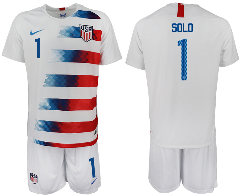 Men 2018-2019 National America home 1 white soccer jersey