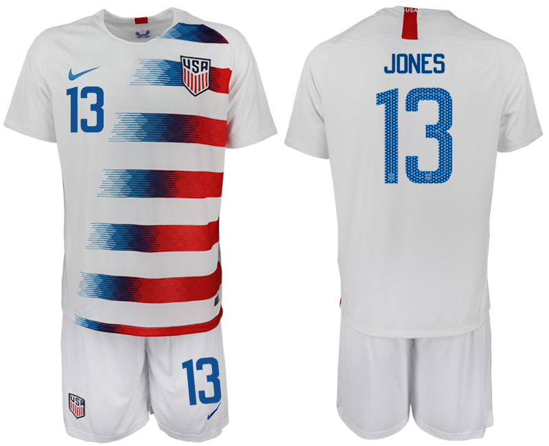Men 2018-2019 National America home 13 white soccer jersey