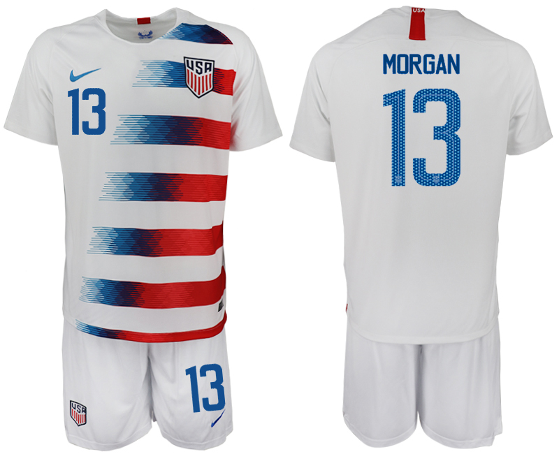 Men 2018-2019 National America home 13 white soccer jersey1