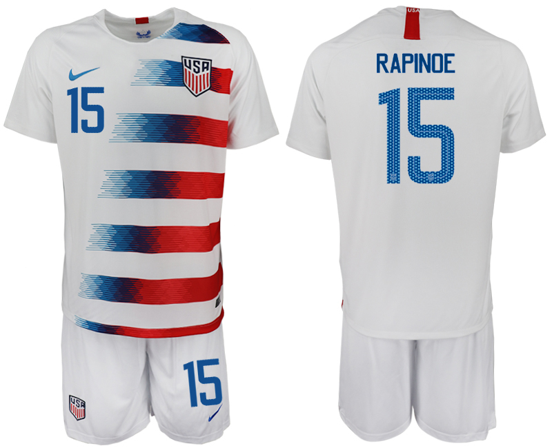 Men 2018-2019 National America home 15 white soccer jersey