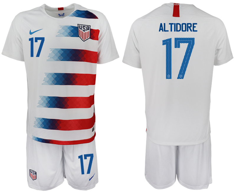 Men 2018-2019 National America home 17 white soccer jersey
