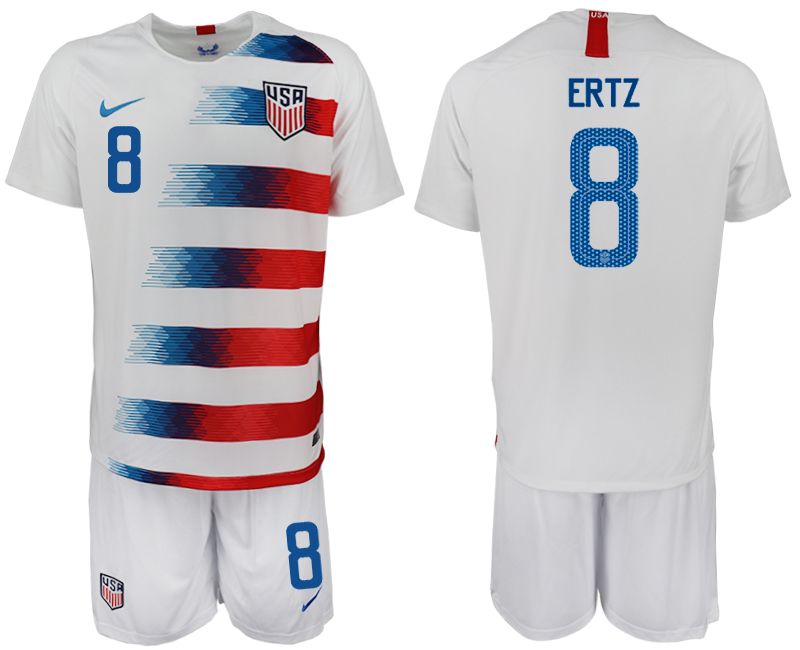 Men 2018-2019 National America home 8 white soccer jersey