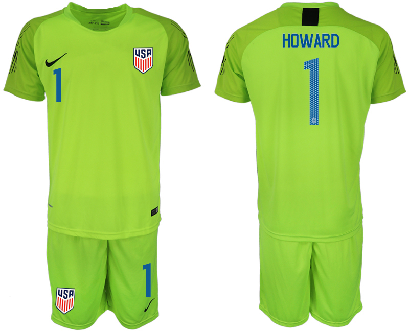 Men 2018-2019 National USA fluorescent green goalkeeper 1 soccer jersey