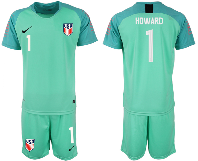 Men 2018-2019 National USA fluorescent green goalkeeper 1 soccer jersey1