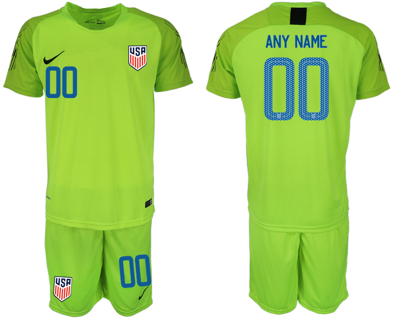 Men 2018-2019 National USA fluorescent green goalkeeper customized soccer jersey