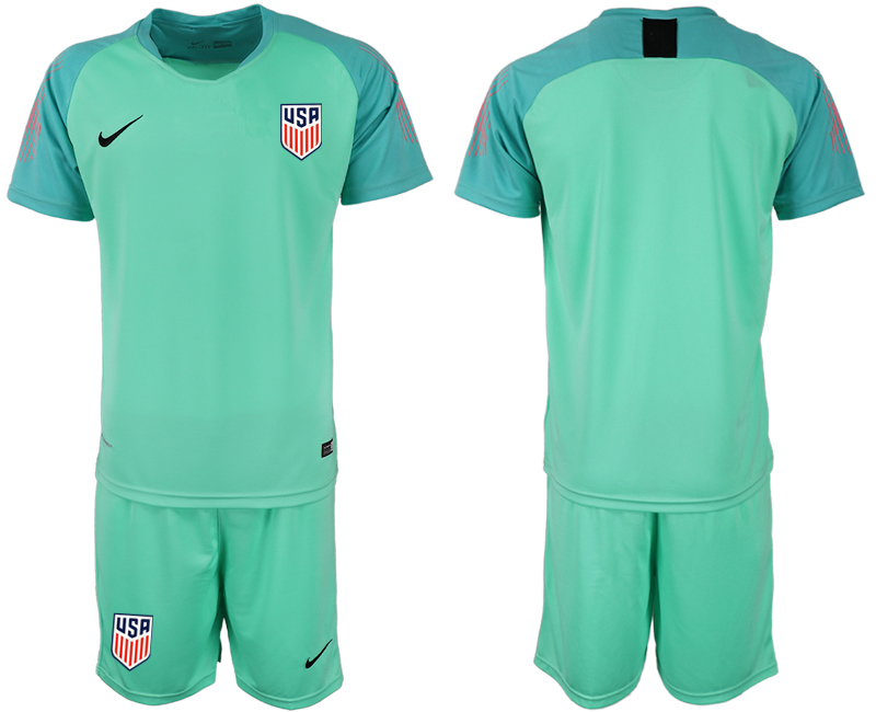 Men 2018-2019 National USA fluorescent green goalkeeper soccer jersey1