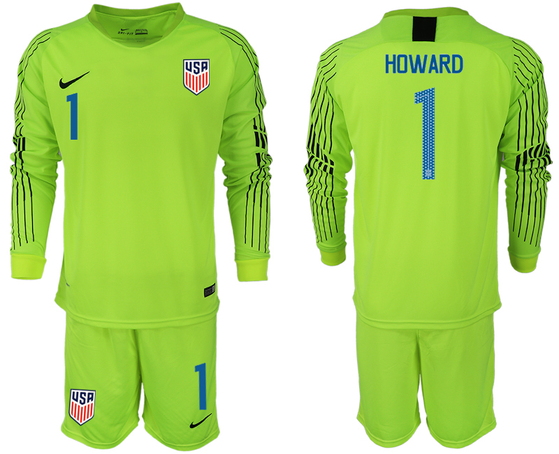 Men 2018-2019 National USA fluorescent green long sleeve goalkeeper 1 soccer jersey
