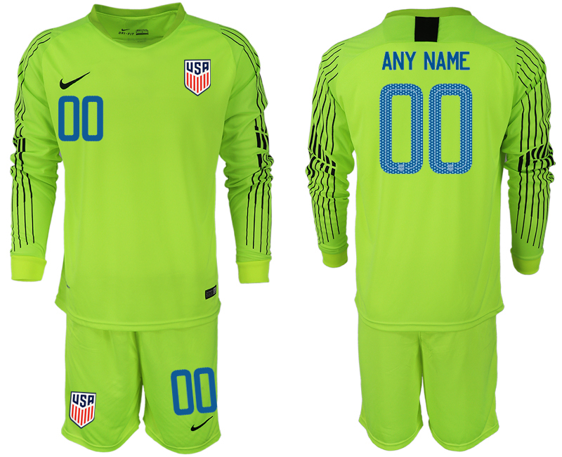 Men 2018-2019 National USA fluorescent green long sleeve goalkeeper customized soccer jersey