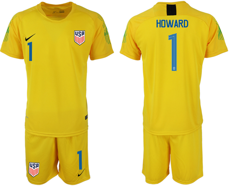 Men 2018-2019 National USA fluorescent yellow goalkeeper 1 soccer jersey