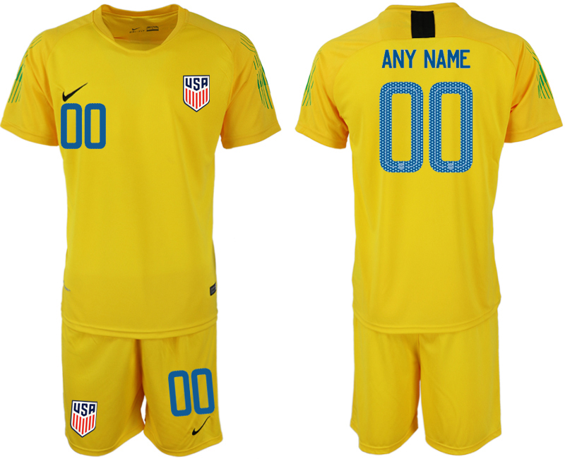 Men 2018-2019 National USA fluorescent yellow goalkeeper customized soccer jersey