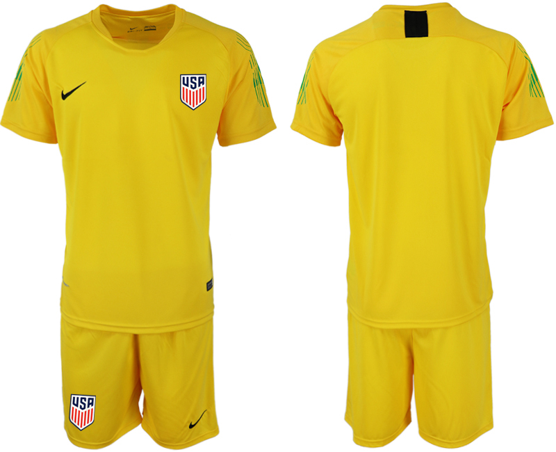 Men 2018-2019 National USA fluorescent yellow goalkeeper soccer jersey