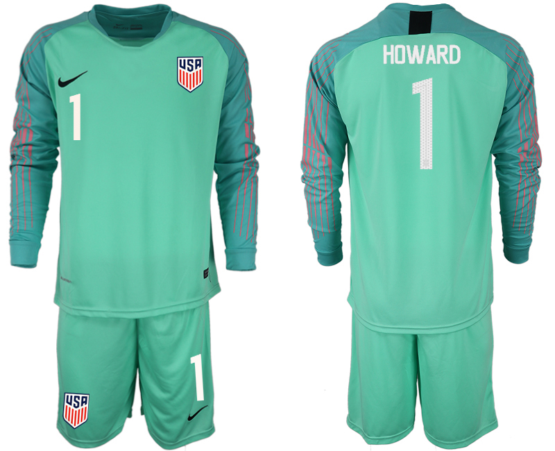 Men 2018-2019 National USA green goalkeeper long sleeve 1 soccer jersey