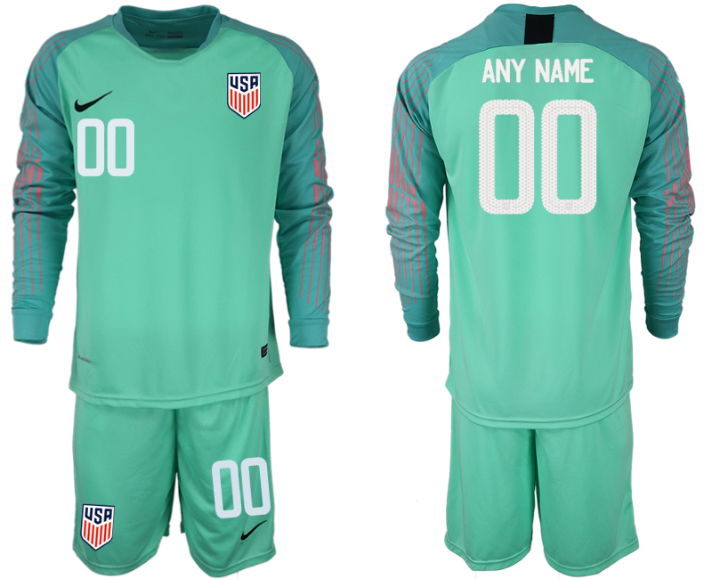 Men 2018-2019 National USA green goalkeeper long sleeve customized soccer jersey