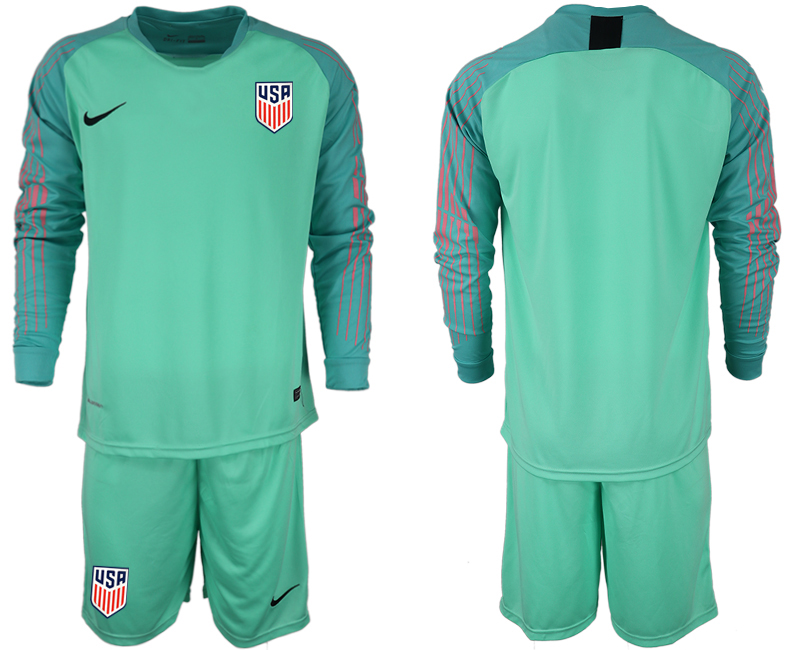 Men 2018-2019 National USA green goalkeeper long sleeve soccer jersey