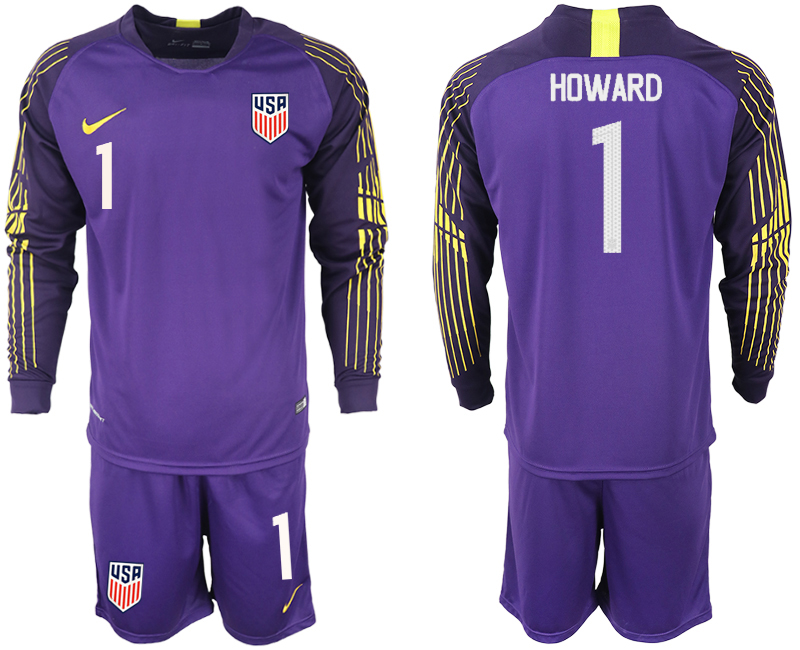 Men 2018-2019 National USA purple goalkeeper long sleeve 1 soccer jersey