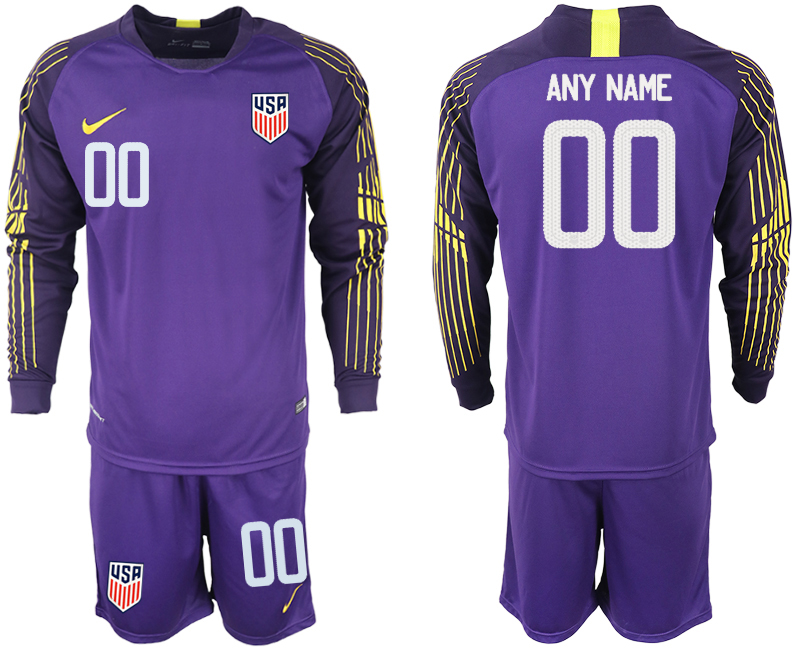 Men 2018-2019 National USA purple goalkeeper long sleeve customized soccer jersey