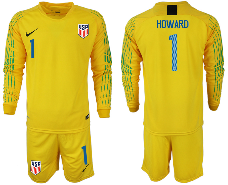 Men 2018-2019 National USA yellow goalkeeper long sleeve 1 soccer jersey