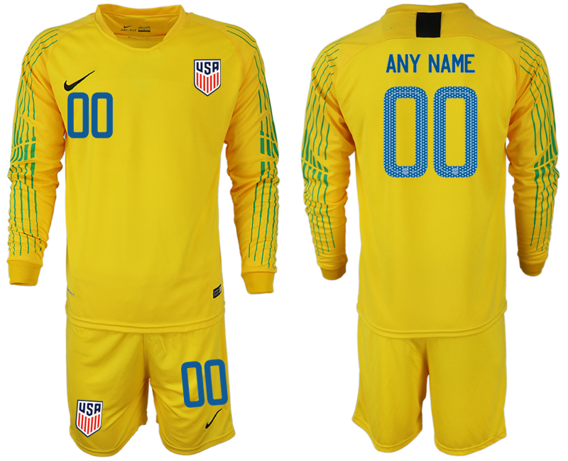 Men 2018-2019 National USA yellow goalkeeper long sleeve customized soccer jersey
