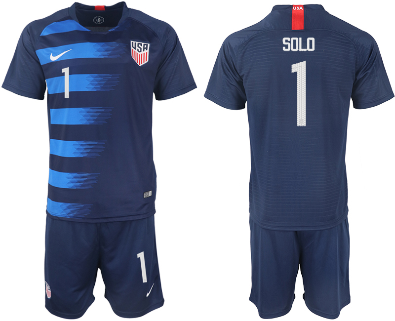 Men 2018-2019 National United States away 1 blue soccer jersey1