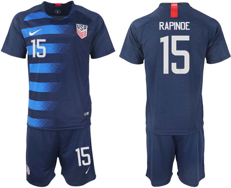 Men 2018-2019 National United States away 15 blue soccer jersey