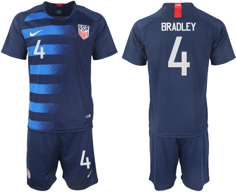 Men 2018-2019 National United States away 4 blue soccer jersey
