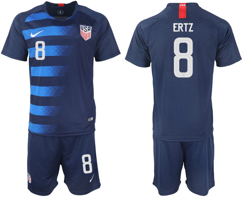 Men 2018-2019 National United States away 8 blue soccer jersey1
