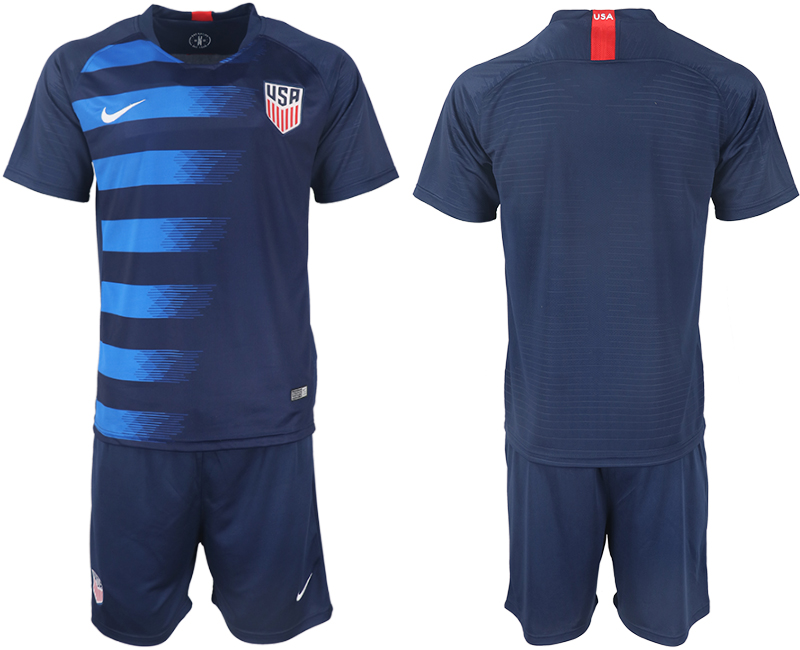 Men 2018-2019 National United States away blank blue soccer jersey