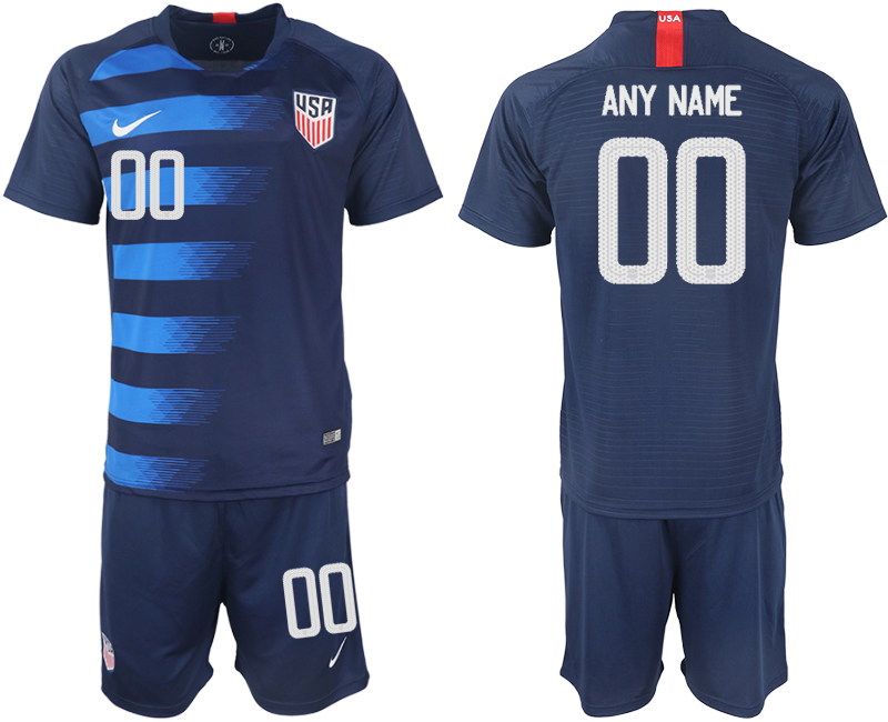 Men 2018-2019 National United States away customized blue soccer jersey