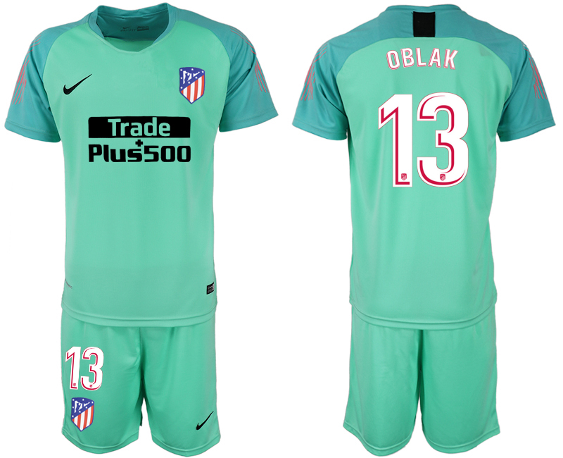 Men 2018-2019 club Atletico Madrid fluorescent green goalkeeper 13 soccer jersey