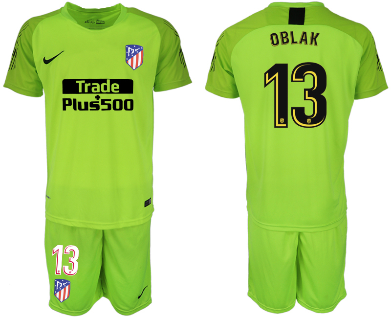 Men 2018-2019 club Atletico Madrid fluorescent green goalkeeper 13 soccer jersey1