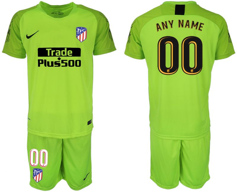 Men 2018-2019 club Atletico Madrid fluorescent green goalkeeper customized soccer jersey1