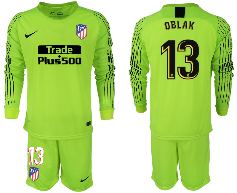 Men 2018-2019 club Atletico Madrid fluorescent green long sleeve goalkeeper 13 soccer jersey